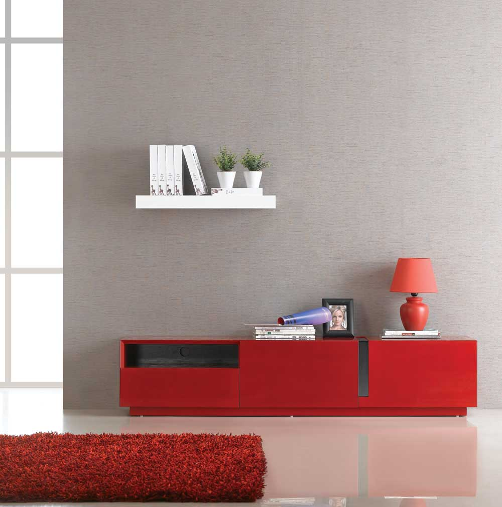 Tv027 Red High Gloss Tv Stand Black By J M Furniture
