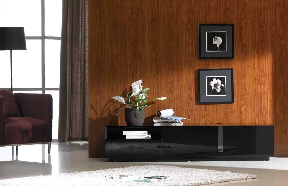 finest selection 276cd 811de TV027 Black High Gloss TV Stand Black by J&M Furniture