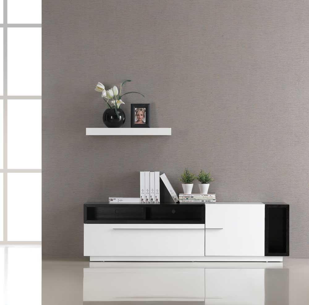 Tv030 White Gloss Dark Oak Tv Stand Black By Jm Furniture