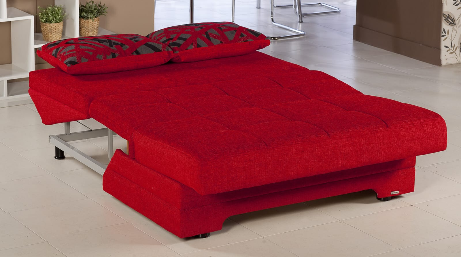 Twist story red loveseat sleeper by istikbal sunset for Sofa bed red