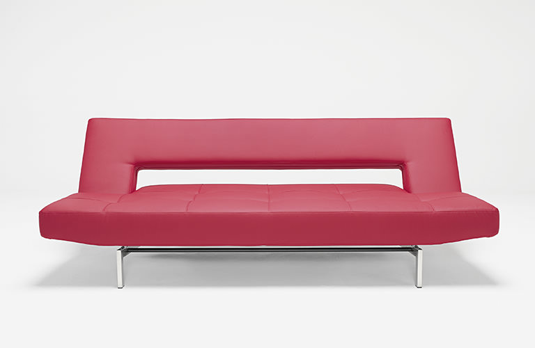 Wing Deluxe Sofa Red Leather Textile by Innovation