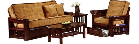 The Full Futon Set With Tables And Drawers